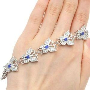 Jewelry - Blue Sapphire & White Topaz Bracelet Silver 925